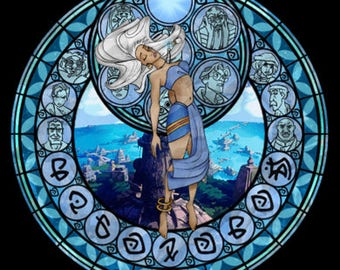 Atlantis kida cross stitch digital Pattern medallion stained glass kingdom hearts