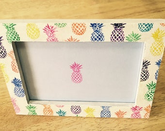 Colourful pineapple print picture frame