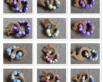 Animal Silicone/Wood Ring Teether, Baby teething toy, Teething, grasping toy, turtle, whale, bird, bunny, hedgehog, fish