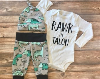 Rawr I'm Baby Dinosaur Coming Home Outfit, newborn boy coming home outfit, baby boy coming home outfit, hello baby name, Dino outfit
