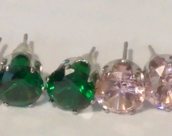 4 pairs of colored cubic zirconia earrings.  Pink, Yellow, Red and Green