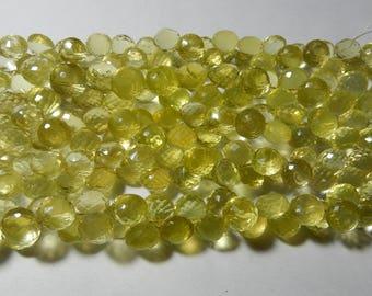"High Quality Lemon Quartz Onion Shape Faceted Briolette Beads 10 MM Size AAA+++ Quality 7 ""inch Long Strand Semi Precious Beads Gemstone"