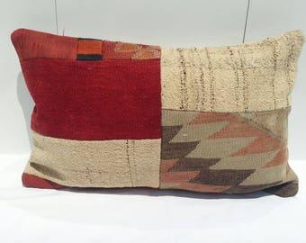 16x24 inches, Colorful Kilim Lumbar Pillow,Vintage Kilim Pillow, sofa Pillow, Handwoven Decorative Turkish Kilim Lumbar Pillow