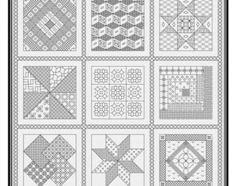Blackwork Quilt Squares Pattern paper copy