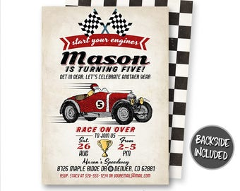 Race Car Invitation, Vintage Race Car Invitation, Racing Invitation, Red Race Car, Race Car Party, Raceway, Personalized, Printable, Digital