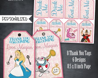 Alice in Wonderland Thank You Tags, Alice Birthday Favors, Alice In Wonderland Party, Alice Birthday Party, Personalized Tags, Printables