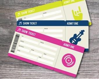 Printable Set of PDF Surprise Concert Tickets