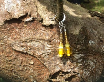 Sunshine yellow, glass bead earrings