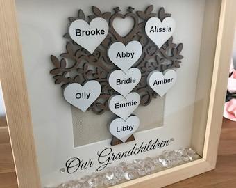 Family Tree Box Frame up to 8 Names