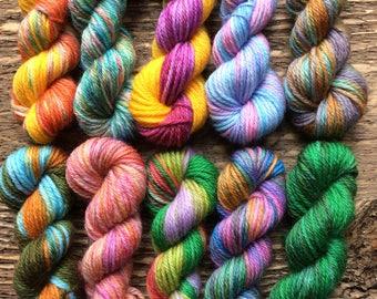 Hand Dyed Sock Yarn Mini Skein Set #70 -- 10 Mini Skeins/25 Yards Each/5.5 Grams Each