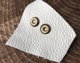 Topaz and Brass Swarovski Bullet Stud Earrings