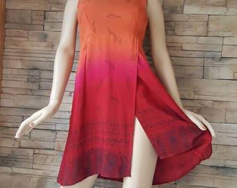 Orange summer dress ,rayon summer dress
