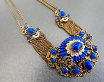 Czech, Neiger, Lapis Wavy Glass Necklace