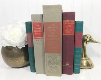 Red Vintage Decorative Book Set