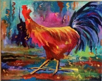 """Rooster, painting,original,kitchen,wall,art,original,canvas,gift,artwork,rooster painting,acrylic,16""""x20"""""""