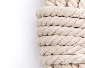 2 yards,  cotton rope, 3 strand made from high-quality cotton yarn ecru color.