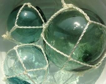 3 set, Vintage Japanese Fishing Float Glass, Sea, beach, green, blue, Floats (no.551)