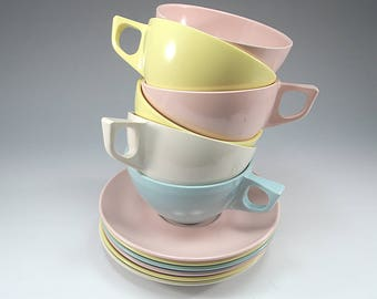 6 Cups and Saucers, Pastel, Melmac, Table to Terrace, Picnic, Camping, Cottage Chic, Gift for Her, Birthday Gift, Home Décor, Rustic, Boho