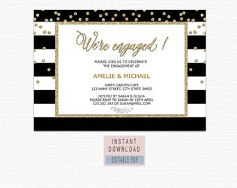 ENGAGEMENT PARTY INVITATION instant download, engagement invitation printable black and gold, engagement invites template, editable pdf BL1