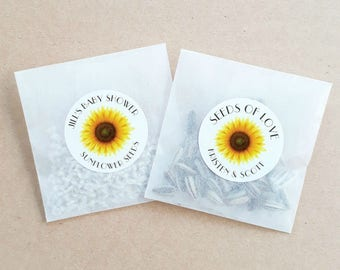Personalised Seed Packet Favours Sunflower Weddings Baby Showers Bomboniere Bridal Bonbonniere x 20