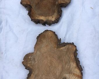 "2 walnut slices, cookies etc. beautiful flower shape, Aprox. 16"" x 14"" x 1.5"""