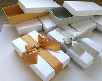 Gold Box With A Ribbon, Invitation Box, Jewelry Packaging, Wedding Favor  Boxes ,