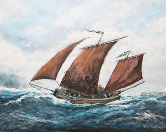 A signed print of a sail boat, a Cornish Lugger, off Cornwall; 14 inches by 11 inches; nautical picture; seascape; boat picture; ship print