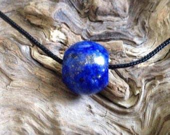 Hand Carved Lapis Lazuli Bead.