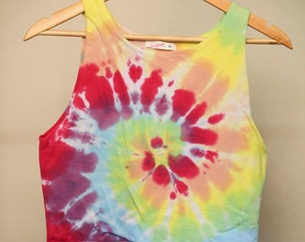 25% OFF ENTIRE SHOP Ladies Size Xl/16 Crop Top - Beach - Festival - Ready To Ship - Ice Tie Dyed - 100 Percent Cotton - Free Shipping within