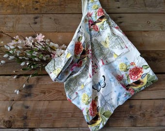 Market bag-reusable bag-shopping bag-shopping tote-bird theme-butterfly lover gift-gift for her-eco friendly-washable-farmers market bag