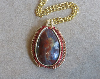 212 Coiled weave gold sarape jasper teardrop