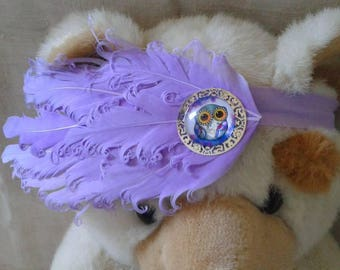headband with purple feathers with OWL cabochon