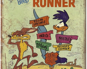 "Gold Key Comics Road Runner Wile E Coyote 10"" X 7"" Reproduction Metal Sign J33"