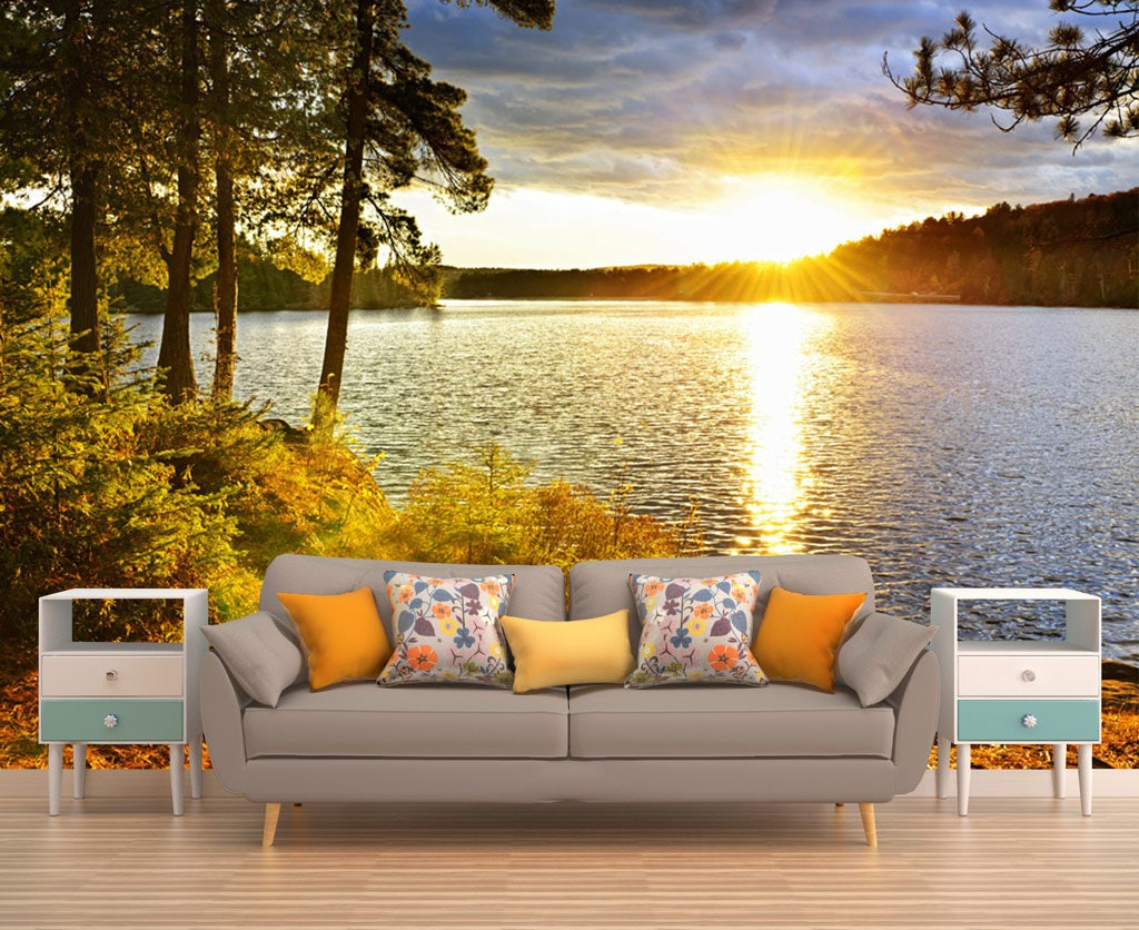Removable Wall Decal, Sunset Wall Art, Mountain Wallpaper, Photo ...