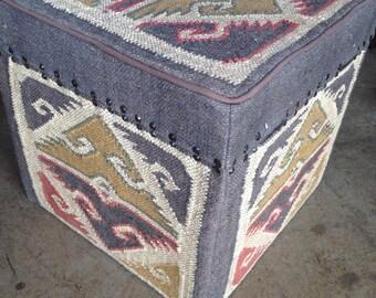 Large Kilim Pouf Ottoman Storage Box