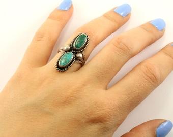 Vintage Navajo Elongated Design Turquoise Ring 925 Sterling RG 2462