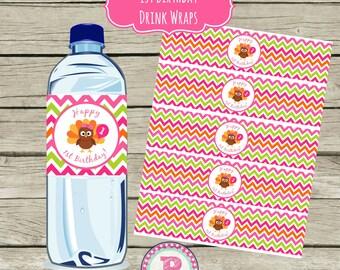 INSTANT Our Little Turkey Girl 1st Birthday Drink Wraps Water Bottle Labels Fall Fun Pumpkins Balloon Pink Thanksgiving Chevron