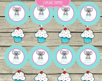 Koala Bear Birthday Party Cupcake Toppers Stickers Printable Instant Download 2.5 inch Circle Tags Happy Birthday