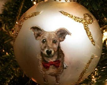Custom, Made-to-Order Hand Painted glass ball ornaments of your Pet!