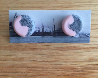 Handmade Polymer Clay Earrings - Two Tone - Glittery Grey/Blush
