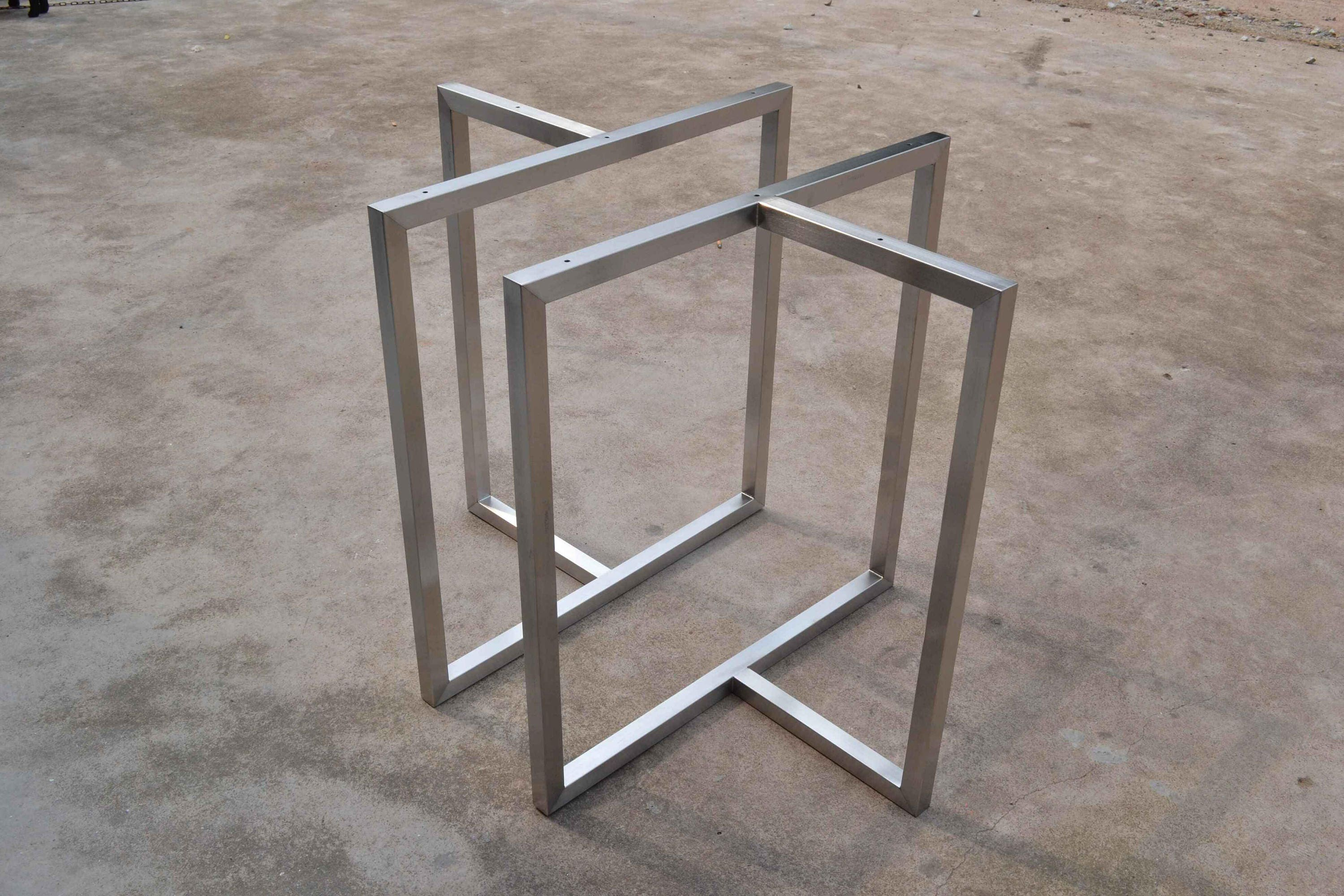 trapezoid metal store set of table base