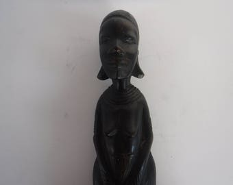African Folk Art Ebony Woman Figurine