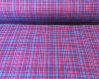 """Vintage  - Bloomcraft 100% cotton, fully woven, fully reversible """"desert plaid""""  in purple pink and teal"""
