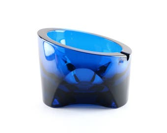 Viking Glass # 7034 - Ashtray - Blunique Blue