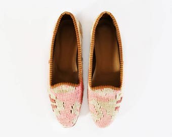 Handmade Kilim Shoes, Boho Shoes, Slipper Shoes, Moroccan Shoes, Leather Shoes, Ethnic Shoes, Vintage Turkish Kilim Espadrillas US6 / EU36