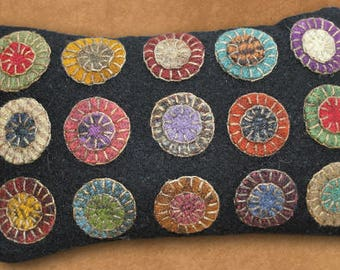 """Quilt Wool Penny Rug Pincushion Pattern and KIT 3.5 x 8"""" by Primitive Gatherings"""