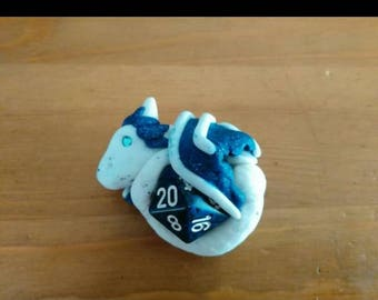Blue and White D20 Dice Dragon