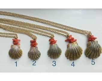 Coral Moonrise Shell Necklaces