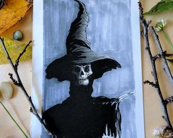 Witch Inktober Print - 4x6