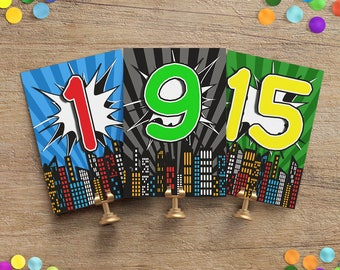 Comic Book Wedding Table Numbers - Comic Book Table Number Cards - Wedding Table Number Cards - Printed Table Cards
